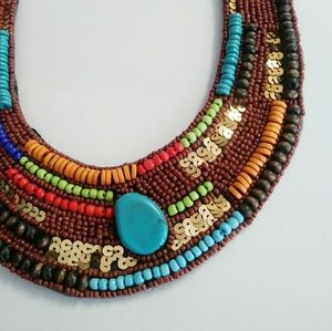 BUNDLE💋 Boho tribal bead bib collar tie necklace